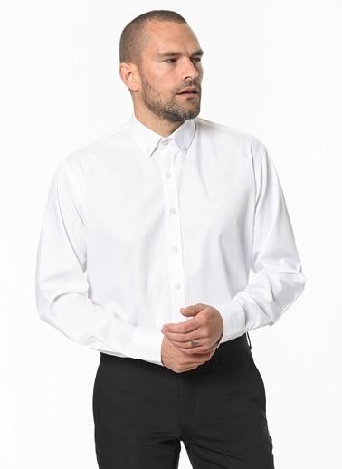 Beymen Business 4B2020200022 Mavi Regular Fit Gömlek Armürlü Beyaz